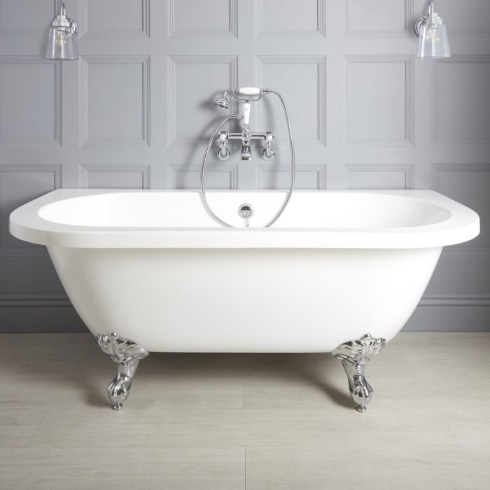 Milano Richmond - White Traditional Back to Wall Freestanding Bath with Choice of Feet - 1685mm x 780mm