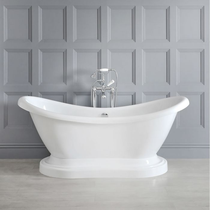 Milano Towneley - 1750mm x 730mm Double Ended Freestanding Bath with Base
