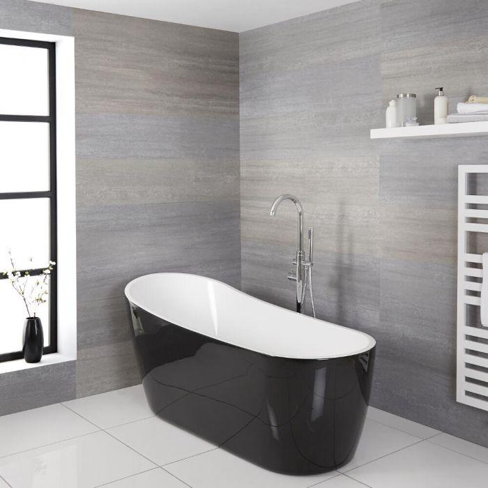 Milano Nero - Black Modern Freestanding Slipper Bath - 1800mm x 720mm