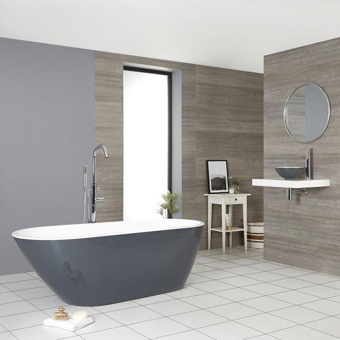 Milano Altcar - Stone Grey Modern Freestanding Bath - 1670mm x 730mm