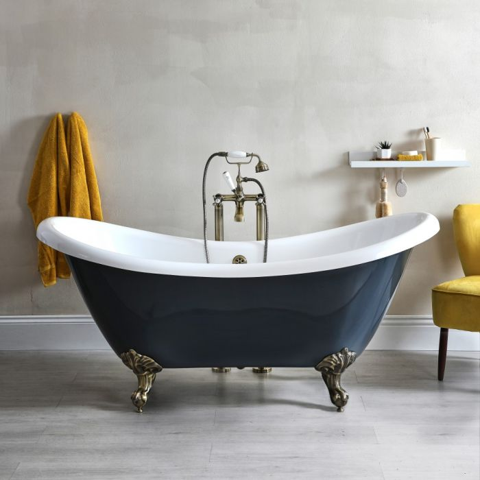Milano Hest - Stone Grey Traditional Double-Ended Freestanding Slipper Bath with Brushed Gold Feet - 1750mm x 730mm (No Tap-Holes)