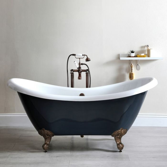 Milano Hest - Stone Grey Traditional Double-Ended Freestanding Slipper Bath with Oil Rubbed Bronze Feet - 1750mm x 730mm (No Tap-Holes)