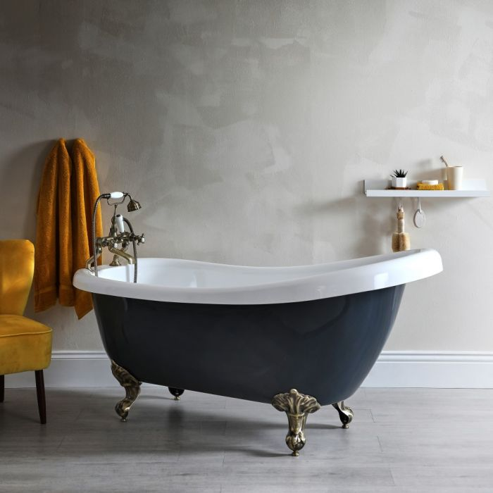 Milano Hest - Stone Grey Traditional Freestanding Slipper Bath with Brushed Gold Feet - 1710mm x 740mm (No Tap-Holes)