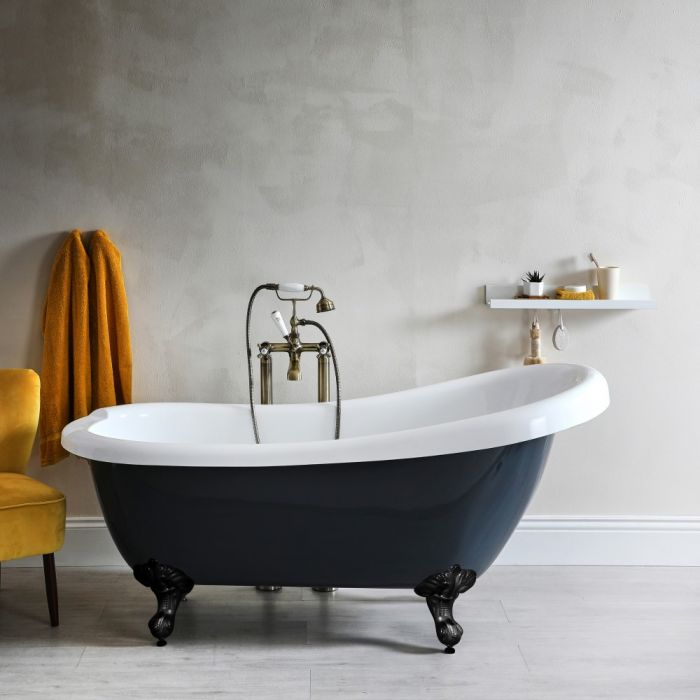 Milano Hest - Stone Grey Traditional Freestanding Slipper Bath with Black Feet - 1710mm x 740mm (No Tap-Holes)