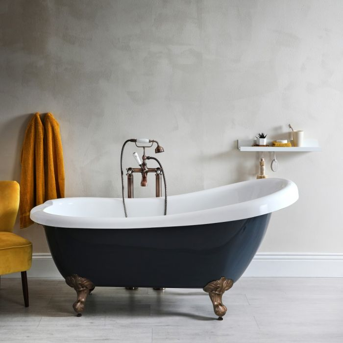 Milano Hest - Stone Grey Traditional Freestanding Slipper Bath with Oil Rubbed Bronze Feet - 1710mm x 740mm (No Tap-Holes)