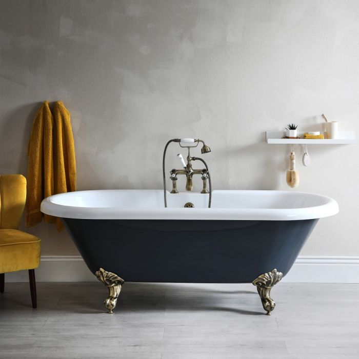 Milano Hest - Stone Grey Traditional Double-Ended Freestanding Bath with Brushed Gold Feet - 1795mm x 785mm (No Tap-Holes)