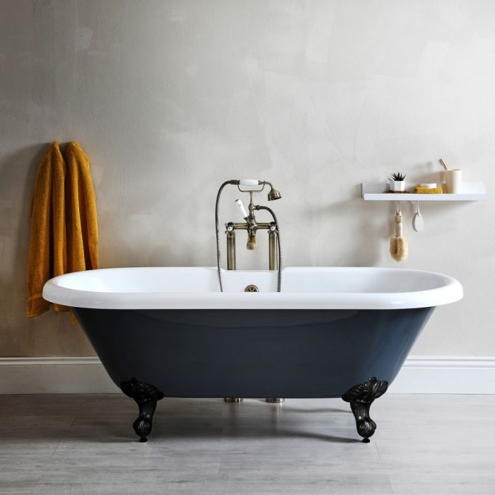 Milano Hest - Stone Grey Traditional Double-Ended Freestanding Bath with Black Feet - 1795mm x 785mm (No Tap-Holes)