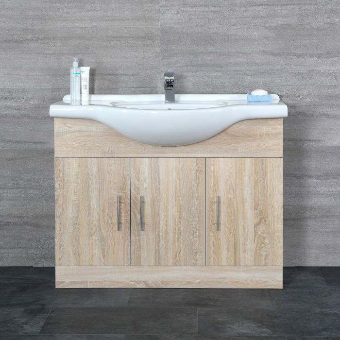 Milano Arch - Oak 1050mm Floor Standing Vanity Unit with Basin