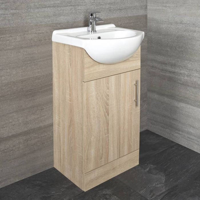 Milano Arch - Oak 455mm Floor Standing Vanity Unit with Basin