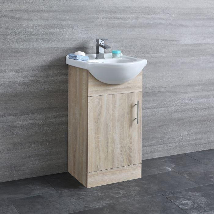Milano Arch - Oak 455mm Floor Standing Vanity Unit with Basin
