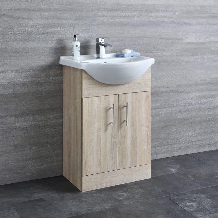 Milano Arch - Oak 550mm Floor Standing Vanity Unit with Basin