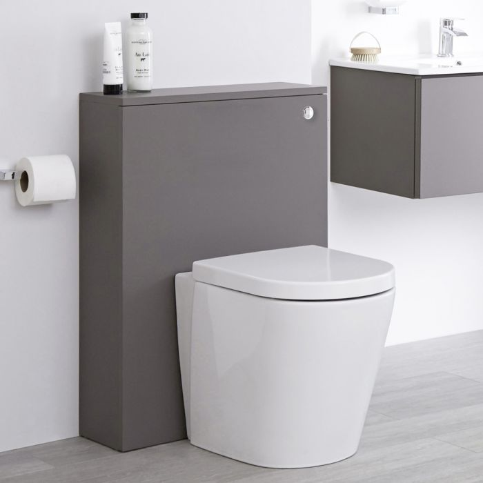 Milano Oxley - Grey 600mm WC Unit with Back to Wall Toilet