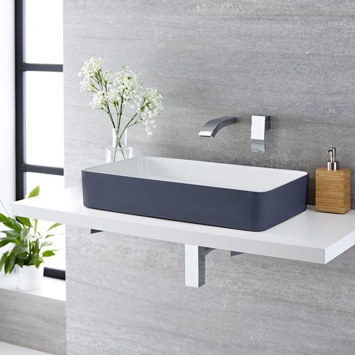 Milano Altcar - Stone Grey Modern Rectangular Countertop Basin - 600mm x 340mm (No Tap-Holes)