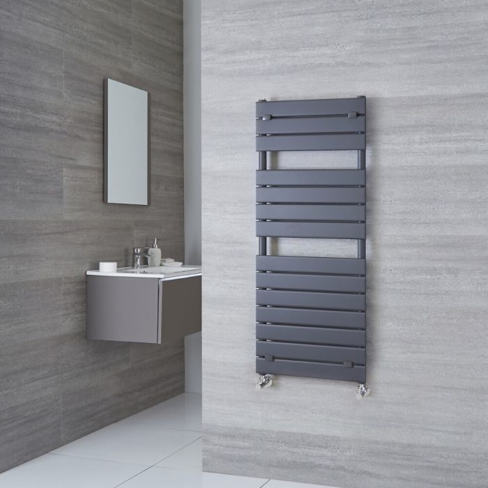 Milano Lustro - Anthracite Designer Heated Towel Rail - 1213mm x 500mm