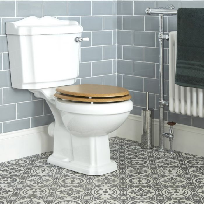 Milano Legend - Traditional Toilet Pan with Cistern and Warm Oak Seat