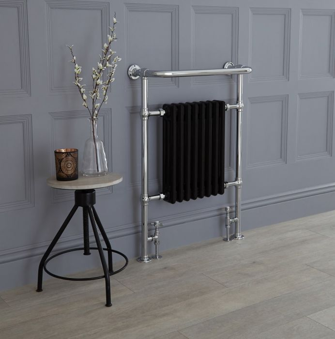 Milano Elizabeth - Chrome and Black Traditional Heated Towel Rail - 960mm x 675mm (With Overhanging Rail)