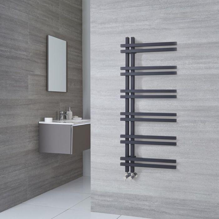 Milano Pars - Aluminium Anthracite Designer Heated Towel Rail - 1200mm x 500mm