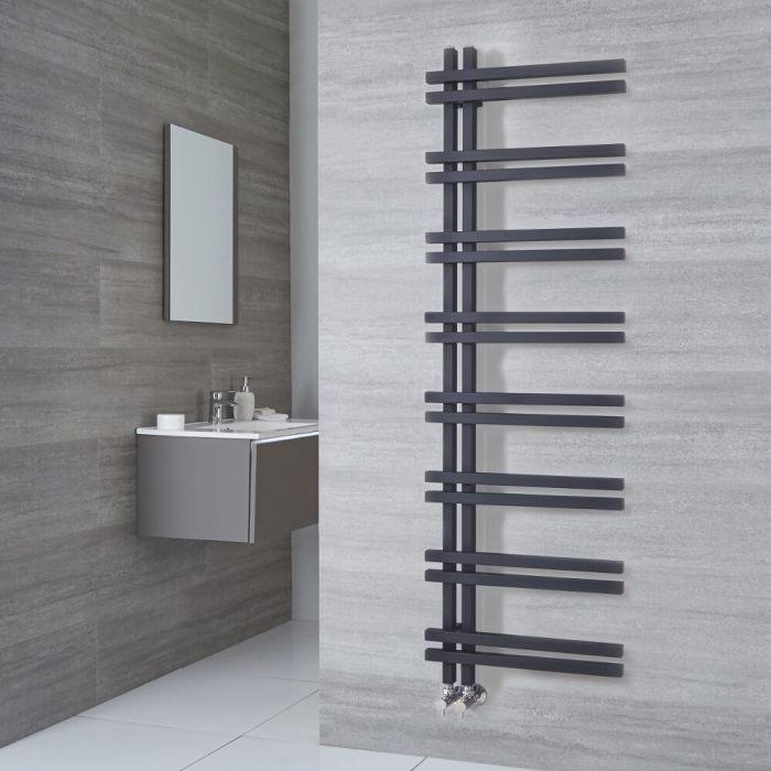 Milano Pars - Aluminium Anthracite Designer Heated Towel Rail - 1600mm x 500mm