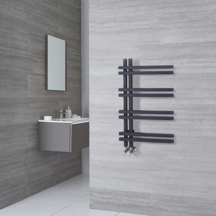 Milano Pars - Aluminium Anthracite Designer Heated Towel Rail - 800mm x 500mm
