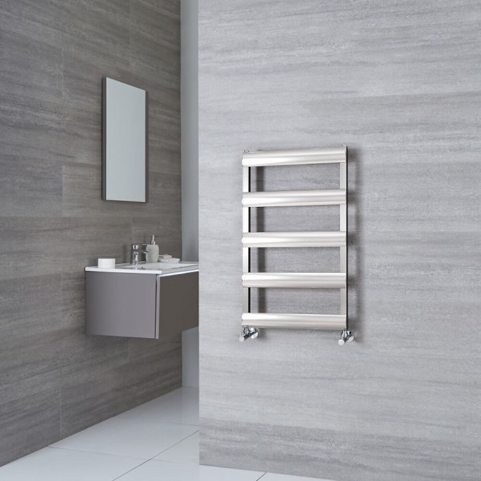 Milano Passo - Aluminium Brushed Chrome Heated Towel Rail - 790mm x 500mm
