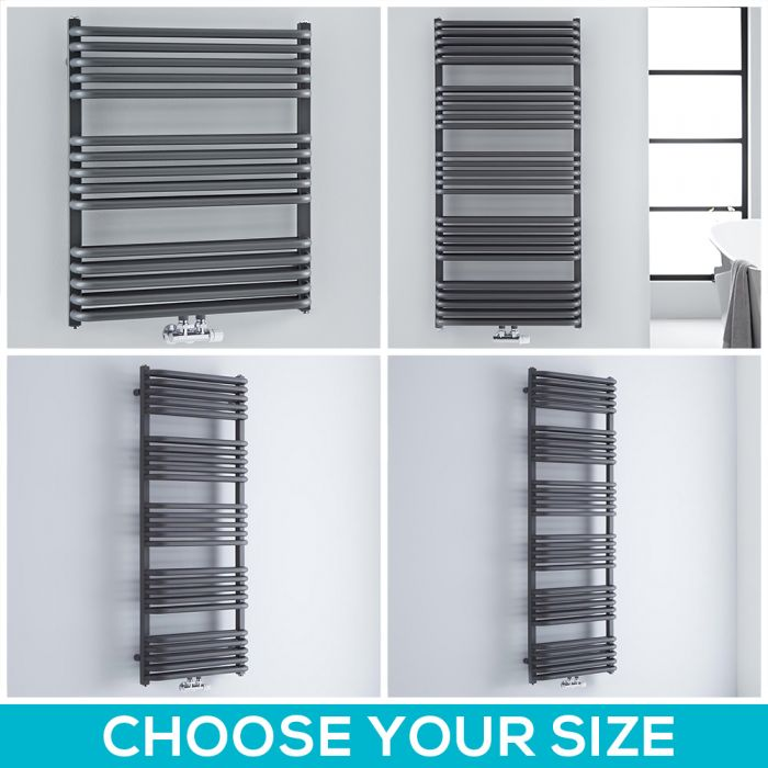 Milano Bow - Anthracite D-Bar Heated Towel Rail - Choice of Size