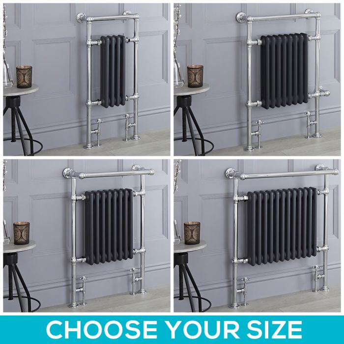 Milano Elizabeth - Anthracite Traditional Heated Towel Rail - Choice of Size