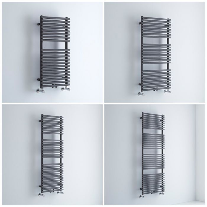 Milano Via - Anthracite Central Connection Bar on Bar Heated Towel Rail - Choice of Size