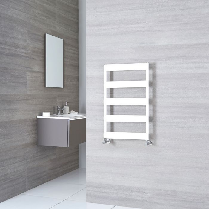 Milano Passo - Aluminium White Heated Towel Rail - 790mm x 500mm