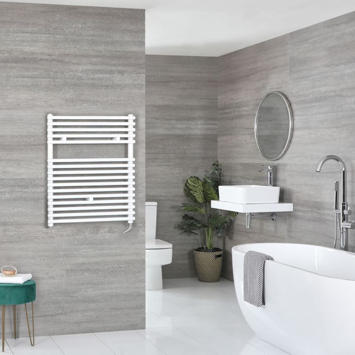 Milano Arno Electric - White Bar on Bar Heated Towel Rail - 730mm x 450mm