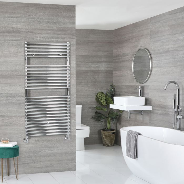 Milano Arno - Chrome Bar on Bar Heated Towel Rail - 1190mm x 450mm