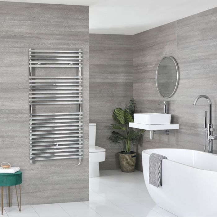 Milano Arno Electric - Chrome Bar on Bar Heated Towel Rail - 1190mm x 450mm