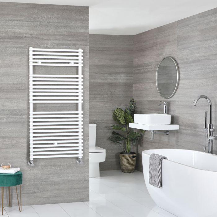 Milano Arno - White Bar on Bar Heated Towel Rail - 1190mm x 450mm