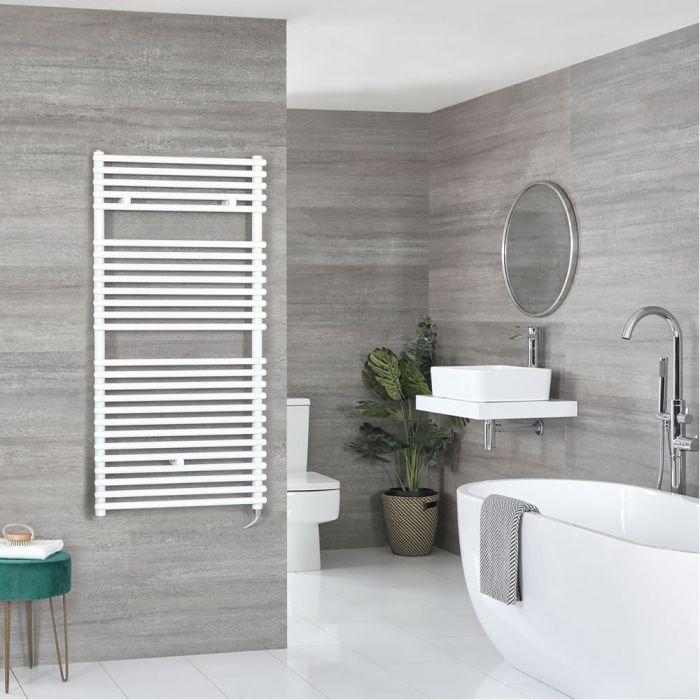 Milano Arno Electric - White Bar on Bar Heated Towel Rail - 1190mm x 450mm