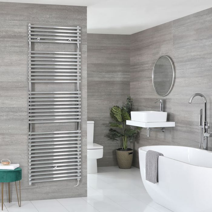 Milano Arno Electric - Chrome Bar on Bar Heated Towel Rail - Choice of Size and Heating Element