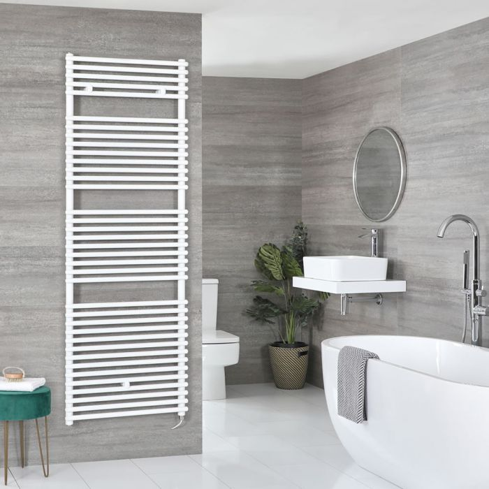 Milano Arno Electric - White Bar on Bar Heated Towel Rail - Choice of Size and Heating Element