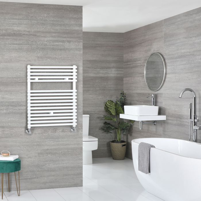 Milano Arno - White Bar on Bar Heated Towel Rail - 730mm x 600mm