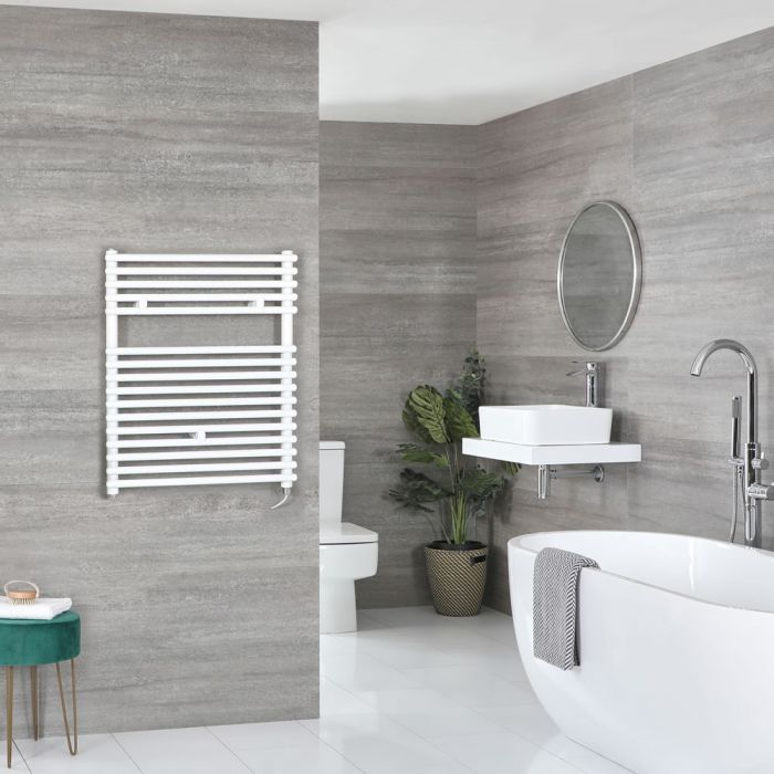 Milano Arno Electric - White Bar on Bar Heated Towel Rail - 730mm x 600mm