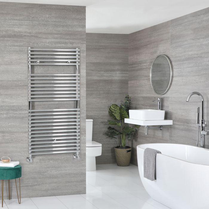 Milano Arno - Chrome Bar on Bar Heated Towel Rail - 1190mm x 600mm
