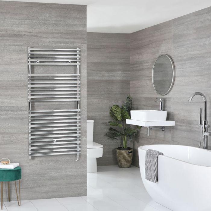 Milano Arno Electric - Chrome Bar on Bar Heated Towel Rail - 1190mm x 600mm