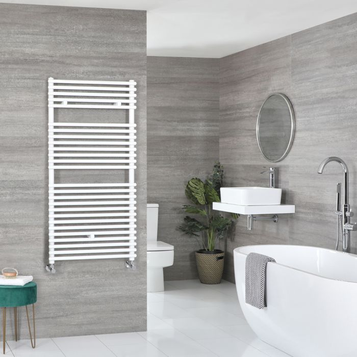 Milano Arno - White Bar on Bar Heated Towel Rail - 1190mm x 600mm