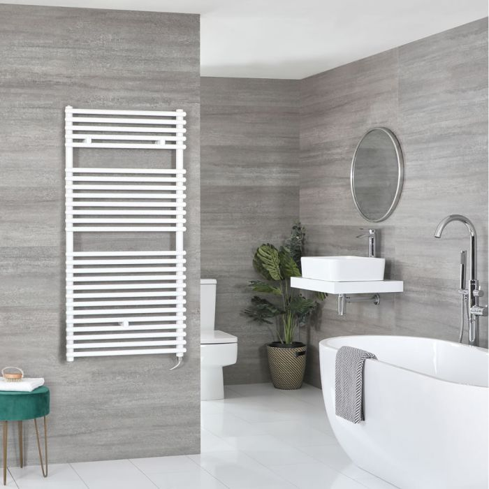 Milano Arno Electric - White Bar on Bar Heated Towel Rail - 1190mm x 600mm
