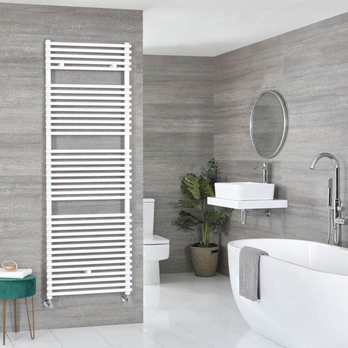 Milano Arno - White Bar on Bar Heated Towel Rail - 1738mm x 600mm