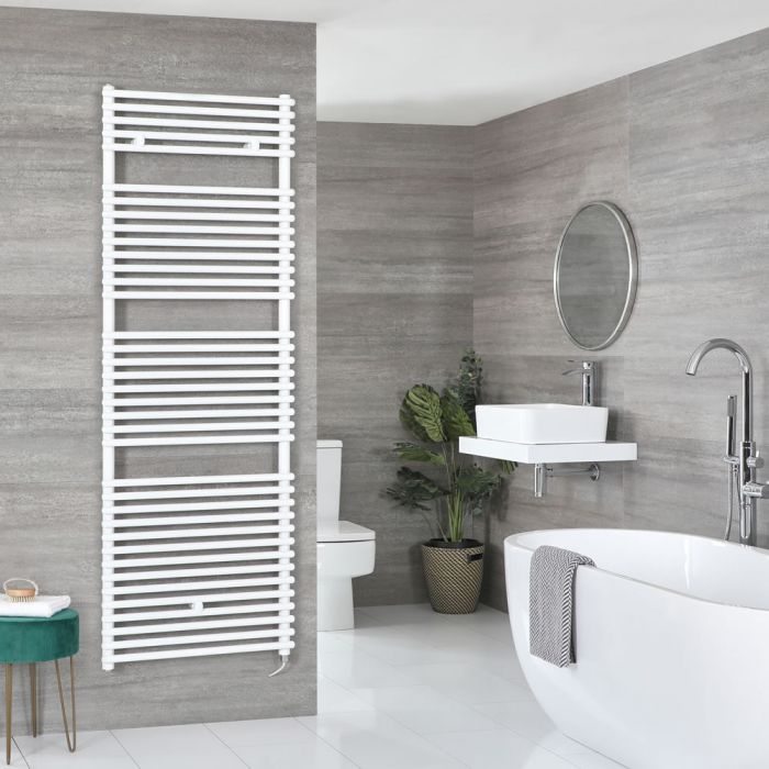 Milano Arno Electric - White Bar on Bar Heated Towel Rail - 1738mm x 600mm