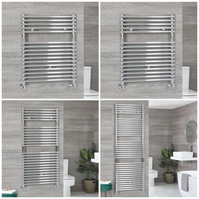 Milano Arno - Chrome Bar on Bar Heated Towel Rail - Choice of Size