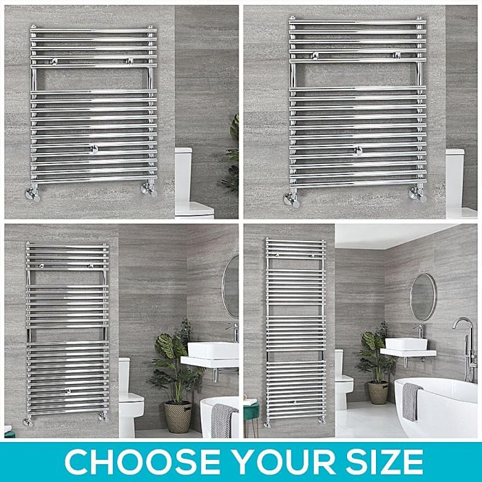 Milano Arno - Chrome Bar on Bar Heated Towel Rail - Choice of Size