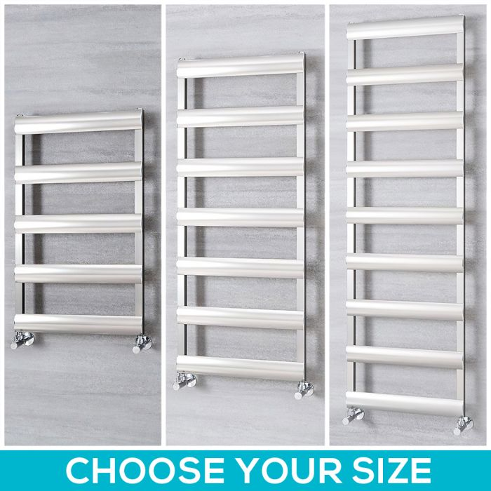 Milano Passo - Aluminium Brushed Chrome Heated Towel Rail - Choice of Size