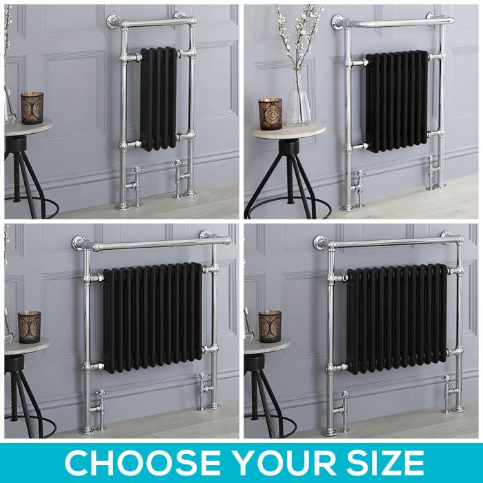 Milano Elizabeth - Black Traditional Heated Towel Rail - Choice of Size
