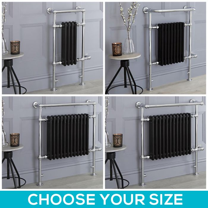 Milano Elizabeth - Black Traditional Electric Heated Towel Rail - Choice of Size