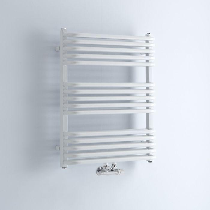 Milano Bow - White D-Bar Heated Towel Rail - 736mm x 600mm