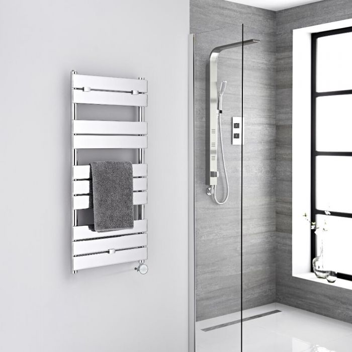 Milano Lustro Electric - Chrome Flat Panel Designer Heated Towel Rail - 1000mm x 450mm